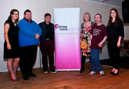2014-06-07 Giving Voice Ashington Football Club. Julie Carr, Steffan Peddie, Pianist, Liz Panton, Lee Ridley aka Lost Voice Guy, Charlotte Reay
